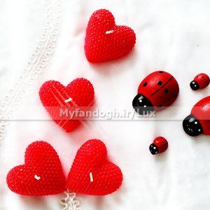 شمع قلبی قرمز طرح مروارید