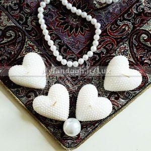 شمع قلبی سفید طرح مروارید