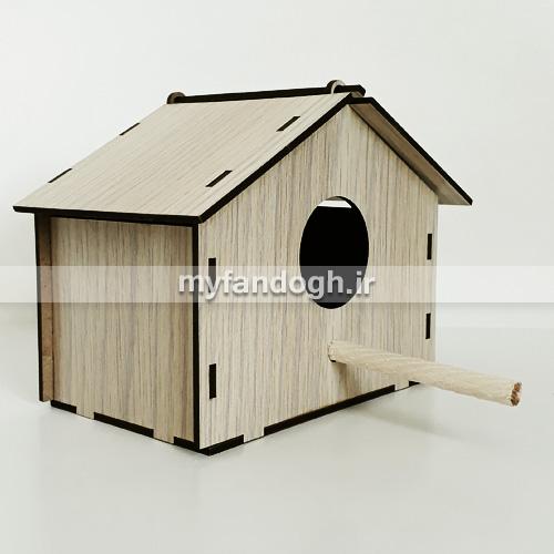 لانه چوبی پرندگان کوچک جثه طرح کلبه کد 11