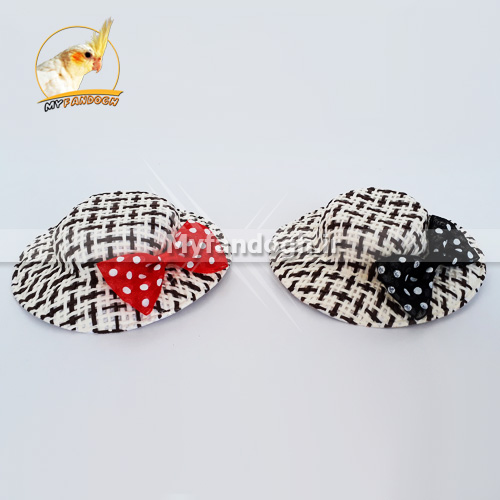 کلاه حصیری بافت دار پت، طوطی سانان و پرندگان بزرگ جثه (سفید،قهوه ای)