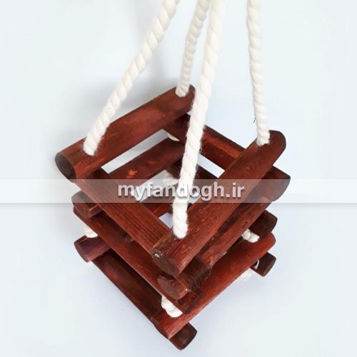 آویز چوبی مکعب ساده