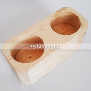 ظرف غذا و دانخوری چوبی دو قلو