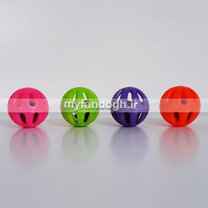 توپ بازی زنگوله ای تک رنگ سایز کوچک