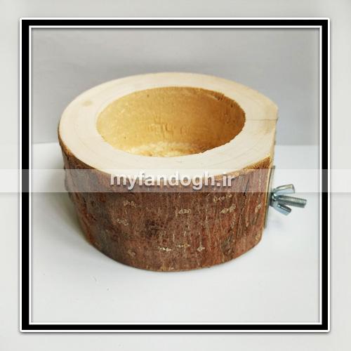 دانخوری چوبی گرد ظرف غذای پرندگان و طوطی سانان