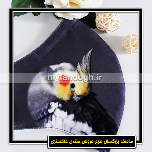 ماسک پارچه ای بزرگسال طرح عروس هلندی خاکستری