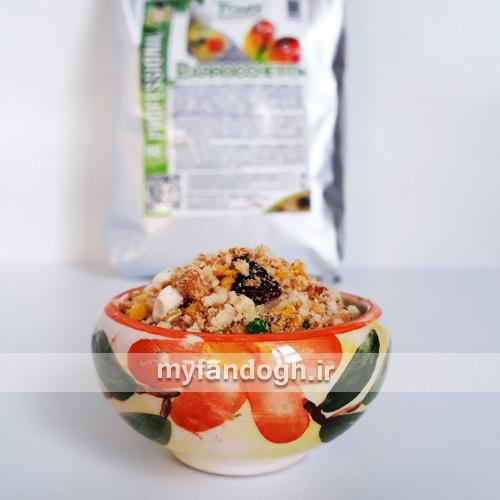 خوراک خشک پاراکیت ها + میوه parrocchetti